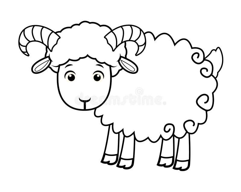 Desenhos animados animais bonitos da cabra isolados em preto e branco ilustração do vetor