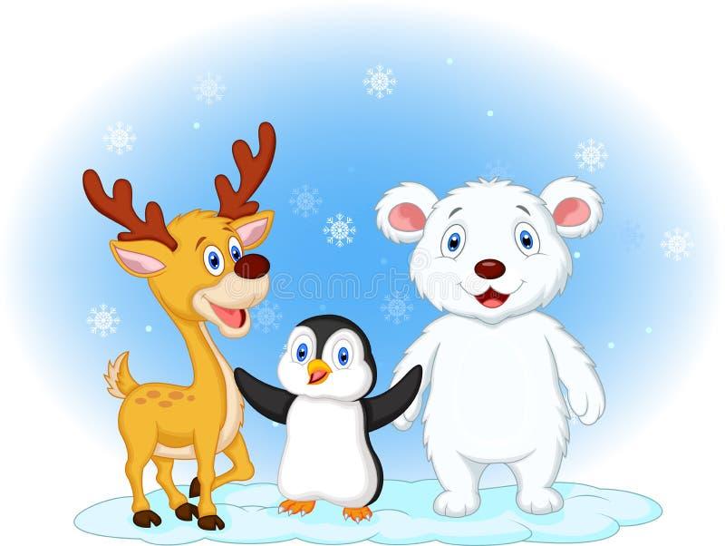Desenhos animados animais bonitos no fundo nevado ilustração stock
