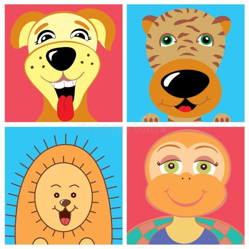 Desenhos animados animais da tartaruga do ouriço do tigre do cão bonitos ilustração stock