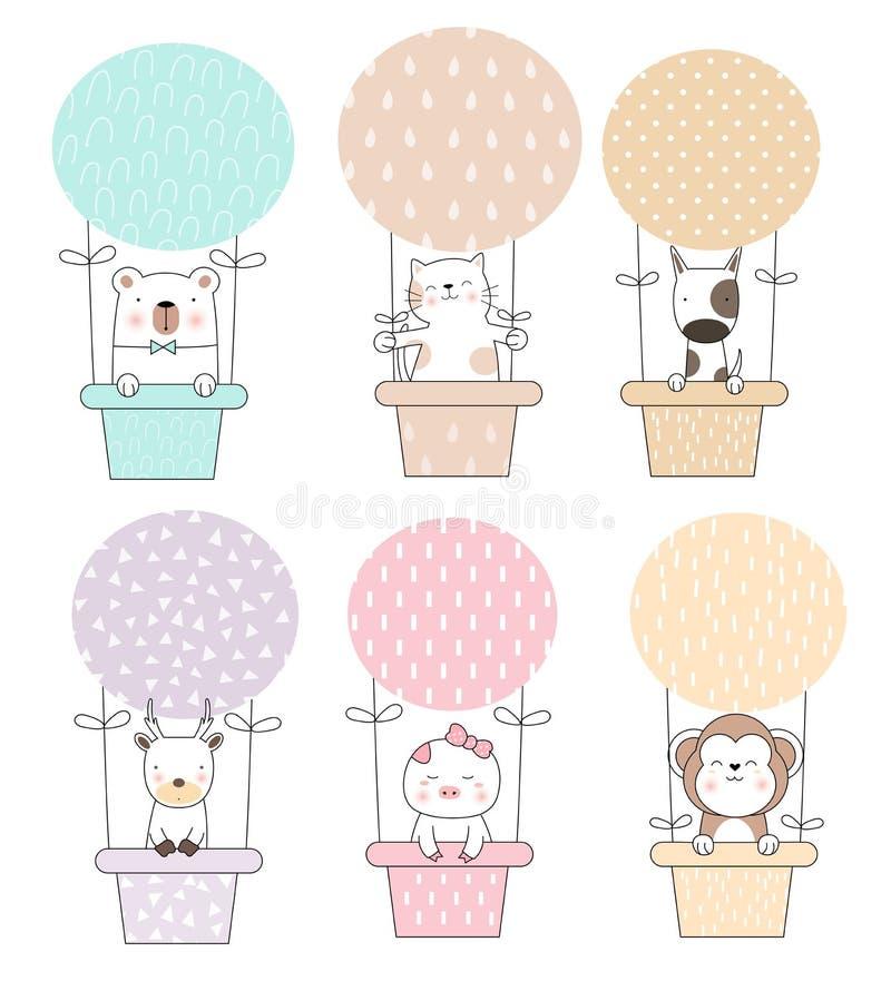 Desenhos animados animais do bebê bonito com estilo tirado mão dos desenhos animados do balão, para imprimir, cartão, camisa de t ilustração stock
