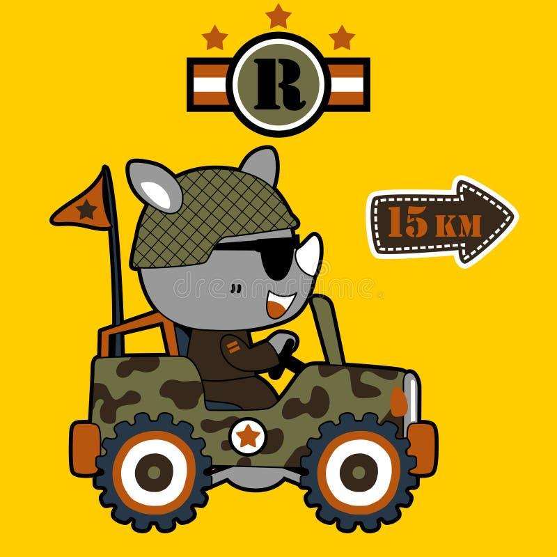 Desenhos animados animais do soldado no veículo militar ilustração stock