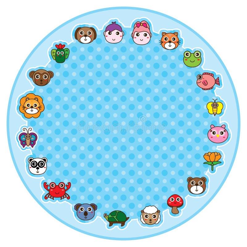 Desenhos animados animais em torno do círculo ilustração do vetor