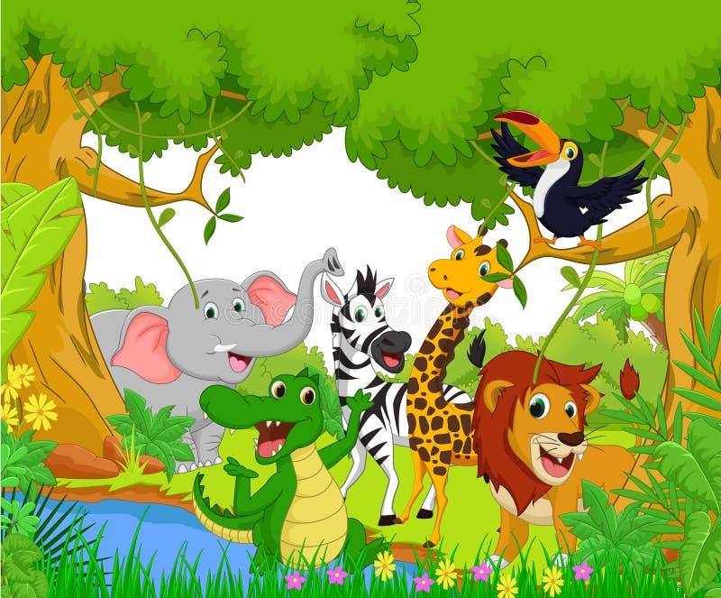 Desenhos animados animais na selva ilustração stock