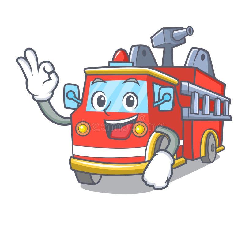 Desenhos animados aprovados do caráter do carro de bombeiros ilustração royalty free