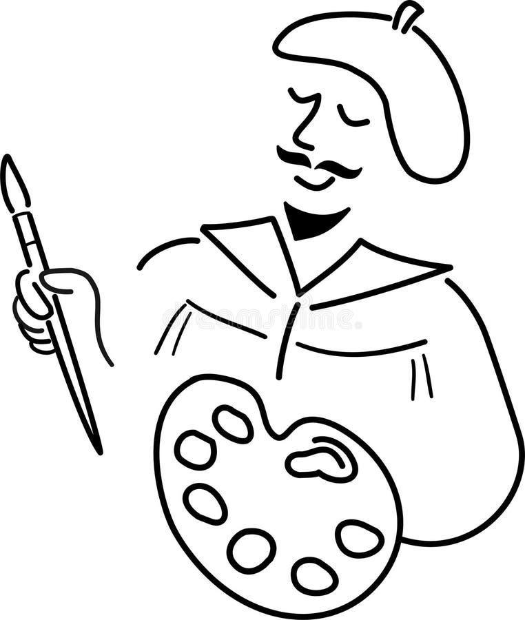 Desenhos animados Artist/ai ilustração stock
