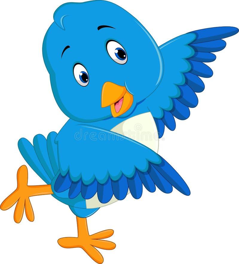 Desenhos animados azuis bonitos do pássaro ilustração stock