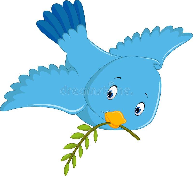Desenhos animados azuis bonitos do pássaro ilustração do vetor