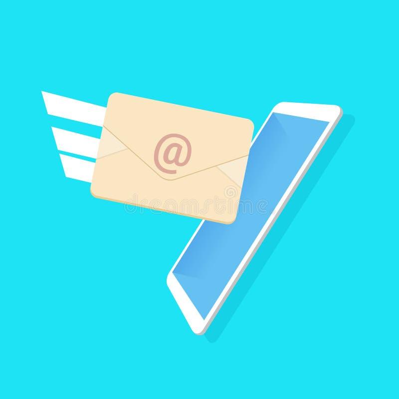 Desenhos animados azuis do fundo da aplicação do mensageiro do envelope do email da renda lisos ilustração royalty free