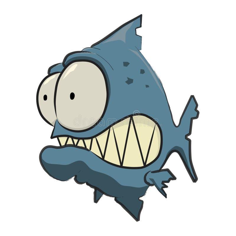 Desenhos animados azuis do Piranha ilustração stock