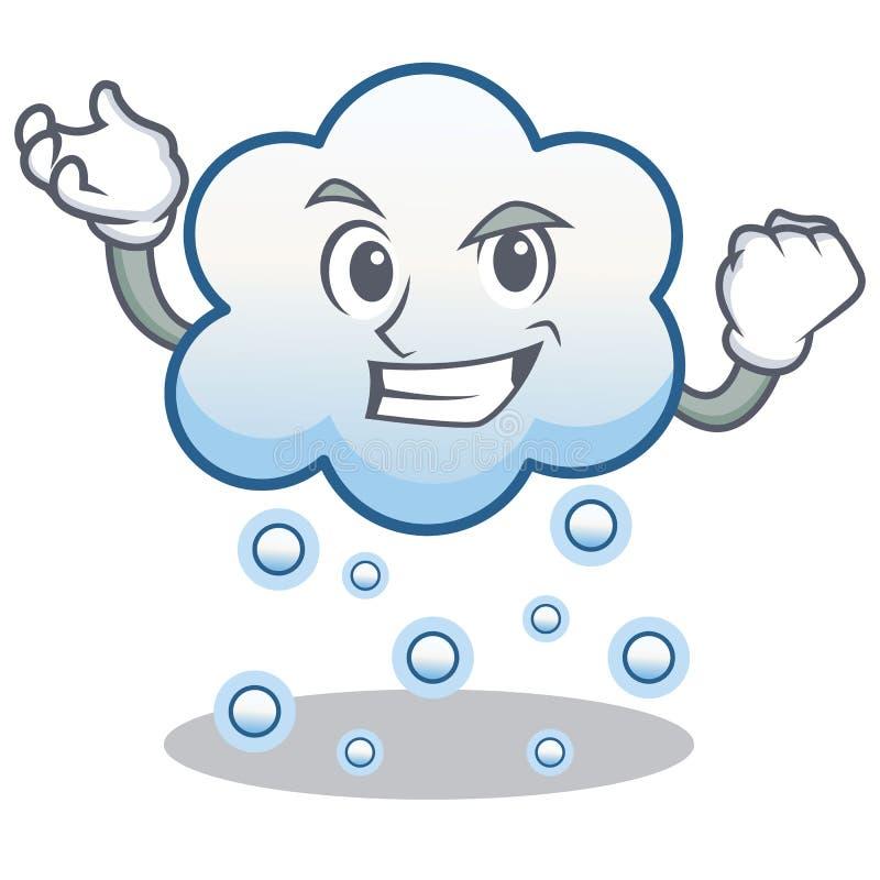 Desenhos animados bem sucedidos do caráter da nuvem da neve ilustração stock