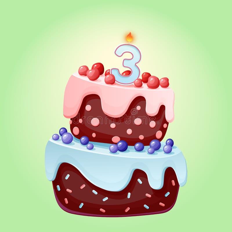 Desenhos animados bonitos bolo festivo de um aniversário de 3 anos com vela número três Biscoito do chocolate com bagas, cerejas  ilustração do vetor