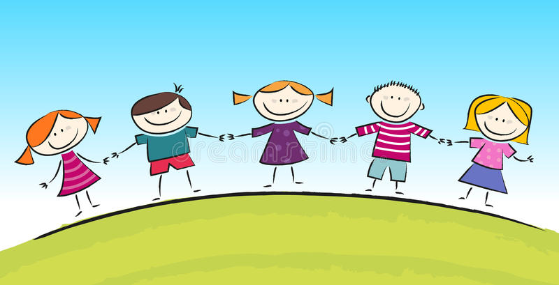 Desenhos animados bonitos com crianças de sorriso ilustração stock