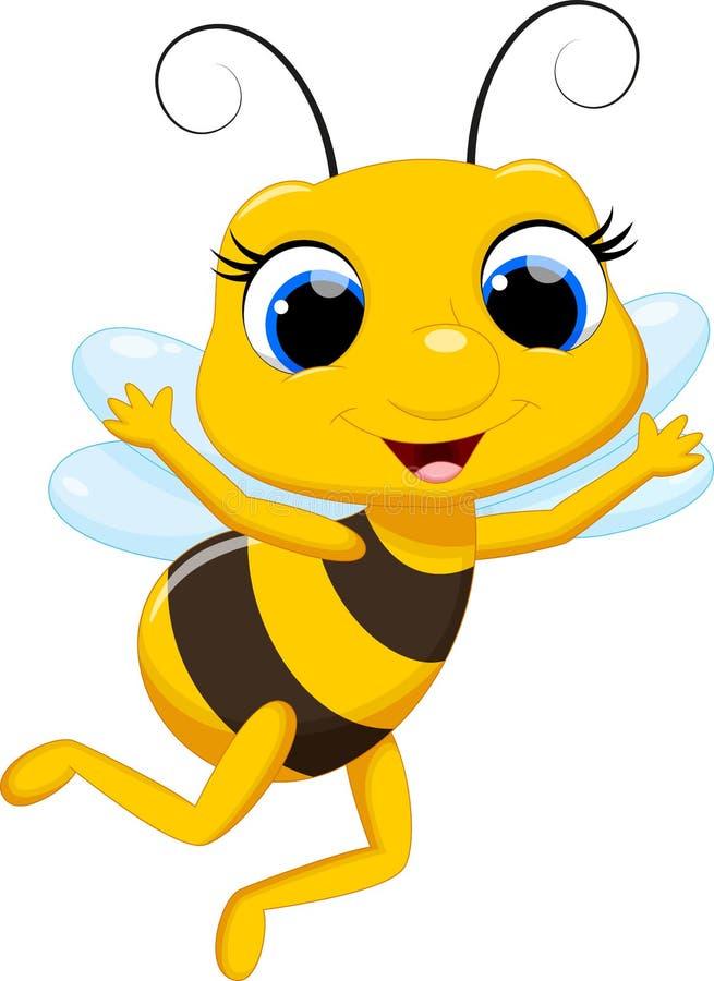 Desenhos animados bonitos da abelha de rainha ilustração stock