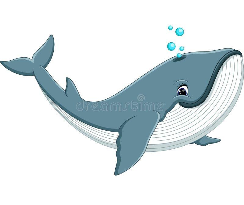 Desenhos animados bonitos da baleia ilustração royalty free