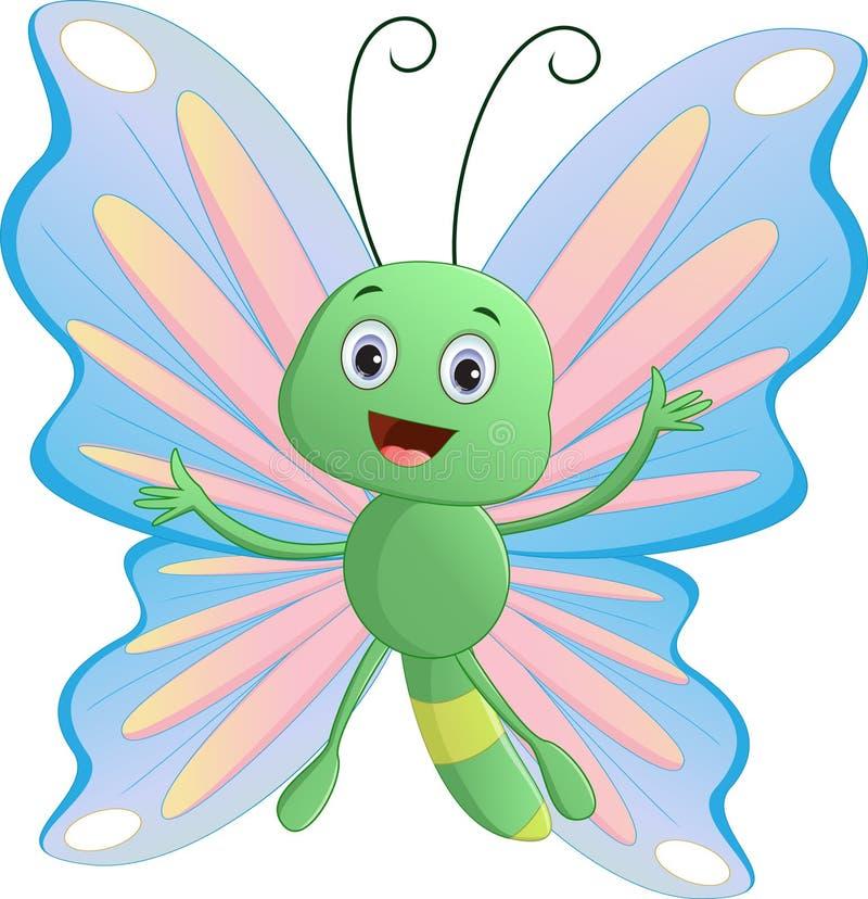 Desenhos animados bonitos da borboleta ilustração stock