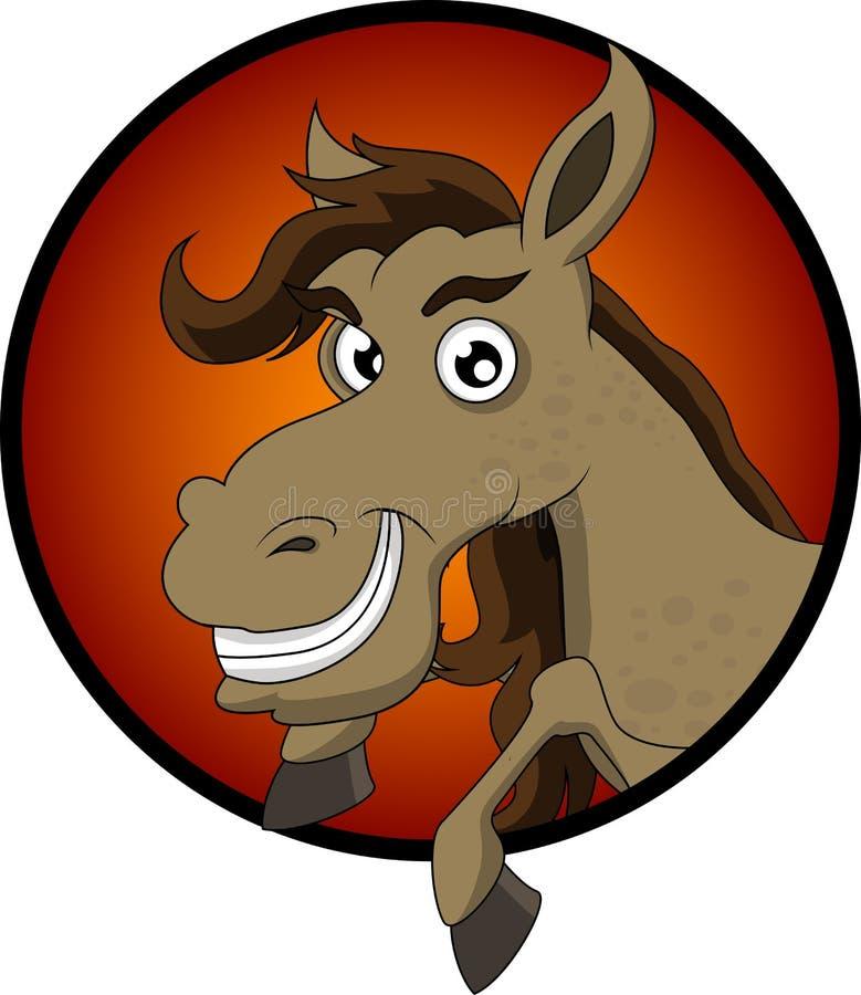 Desenhos animados bonitos da cabeça de cavalo ilustração royalty free