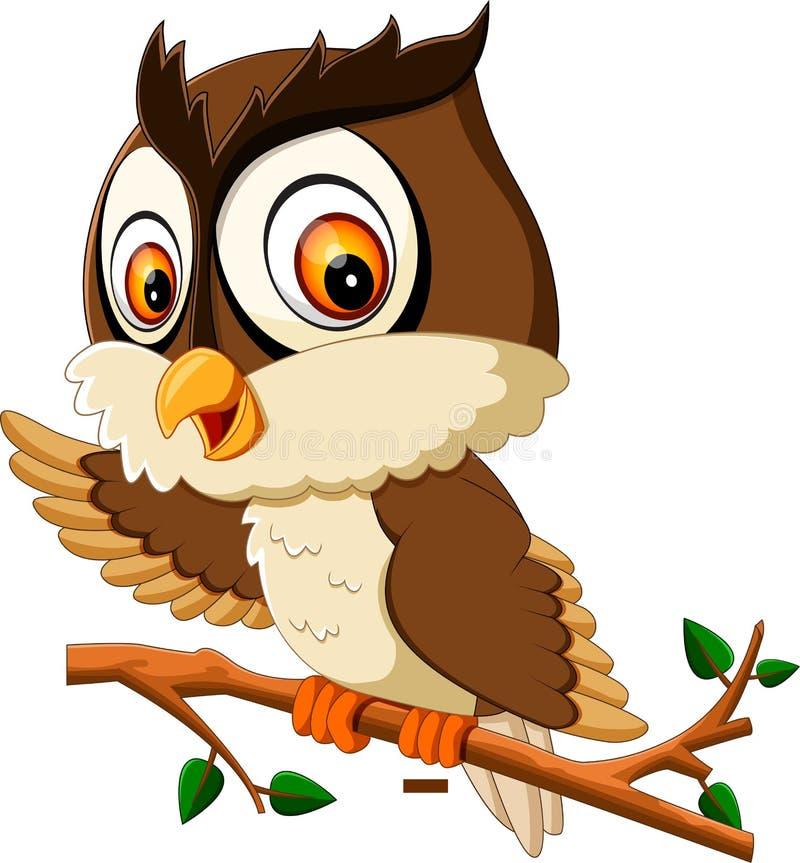 Desenhos animados bonitos da coruja ilustração royalty free