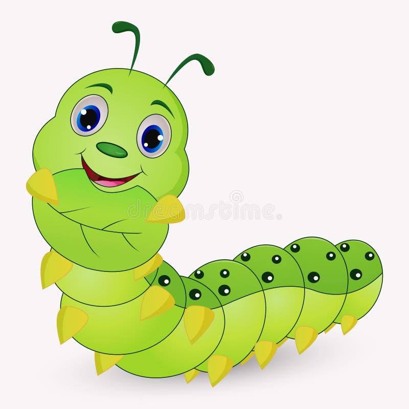 Desenhos animados bonitos da lagarta que guardam as folhas ilustração royalty free