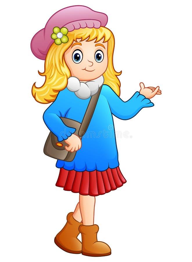 Desenhos animados bonitos da menina da escola ilustração stock