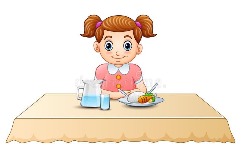Desenhos animados bonitos da menina que comem na mesa de jantar ilustração royalty free