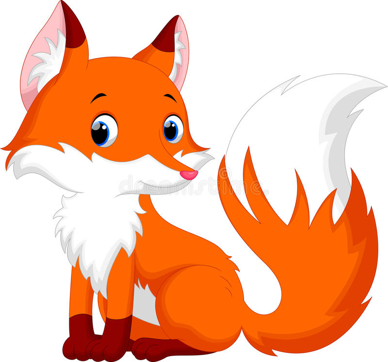 Desenhos animados bonitos da raposa ilustração stock