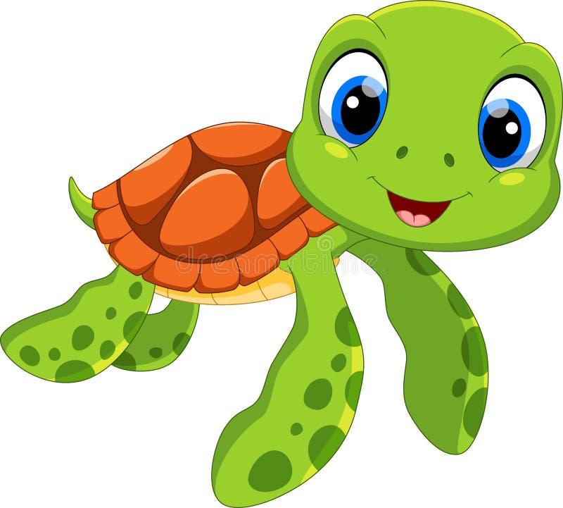 Desenhos animados bonitos da tartaruga de mar Engraçado e adorável ilustração stock