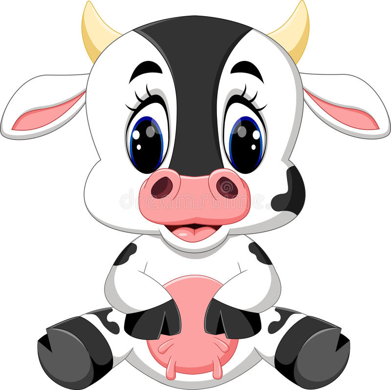 Desenhos animados bonitos da vaca do bebê ilustração royalty free