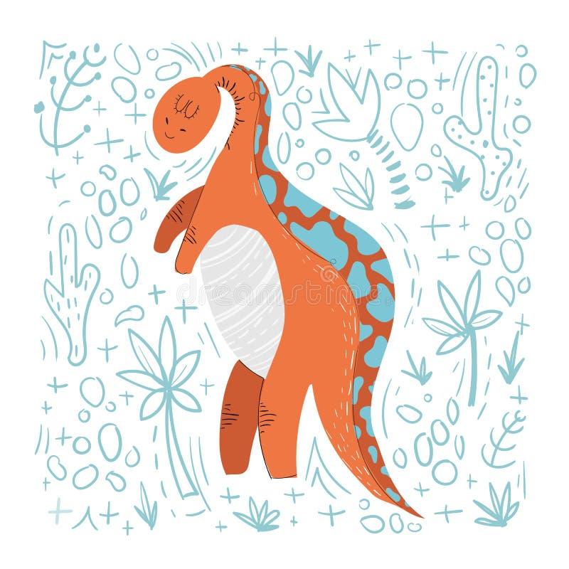 Desenhos animados bonitos Dino ilustração do vetor