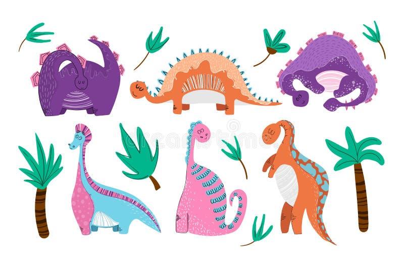 Desenhos animados bonitos Dino ilustração royalty free