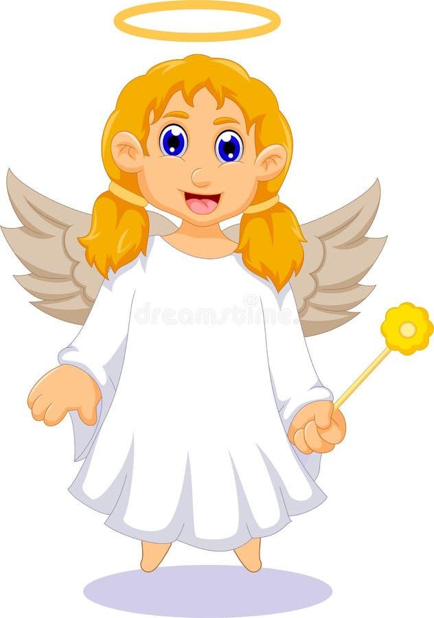 Desenhos animados bonitos do anjo para você projeto ilustração royalty free