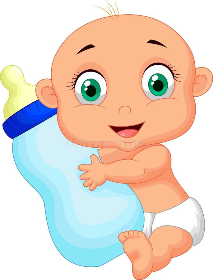 Desenhos animados bonitos do bebê que guardam a garrafa de leite ilustração do vetor