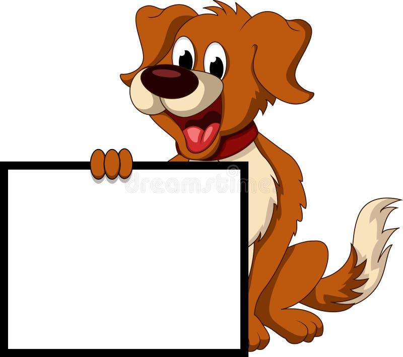 Desenhos animados bonitos do cão que guardaram o sinal vazio ilustração stock