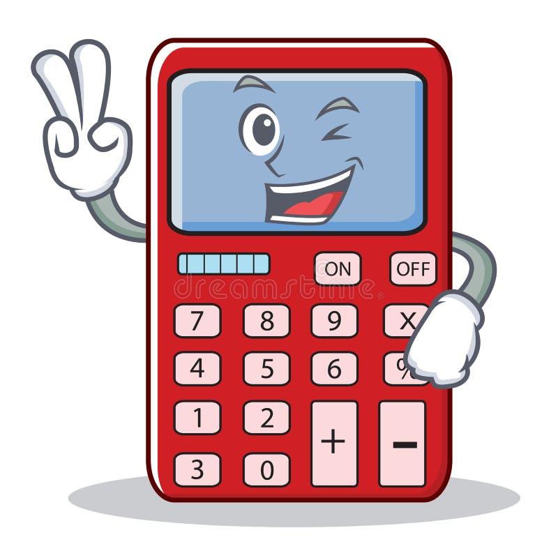 Desenhos animados bonitos do caráter da calculadora de dois fnger ilustração do vetor