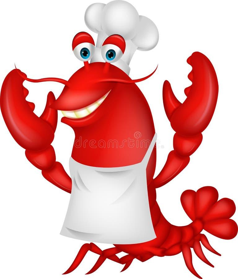 Desenhos animados bonitos do cozinheiro chefe da lagosta ilustração royalty free