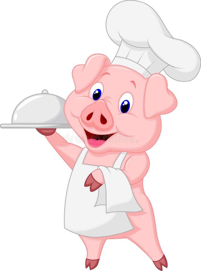Desenhos animados bonitos do cozinheiro chefe do porco que guardam a bandeja ilustração stock