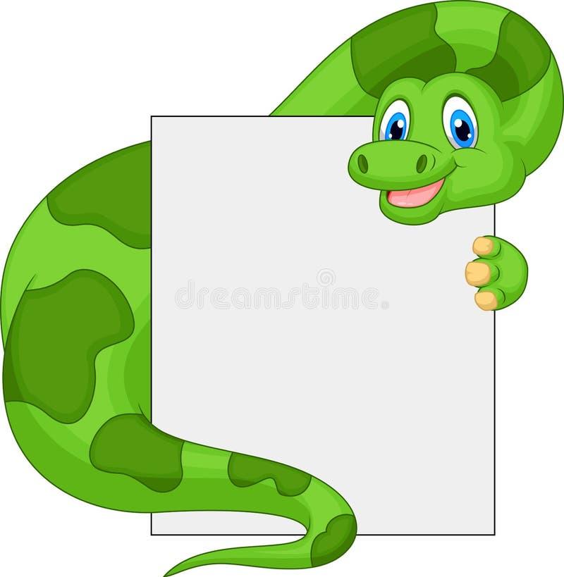 Desenhos animados bonitos do dinossauro que guardam o sinal vazio ilustração royalty free
