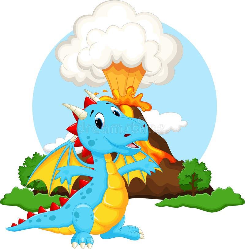 Desenhos animados bonitos do dragão com fundo do vulcão ilustração royalty free