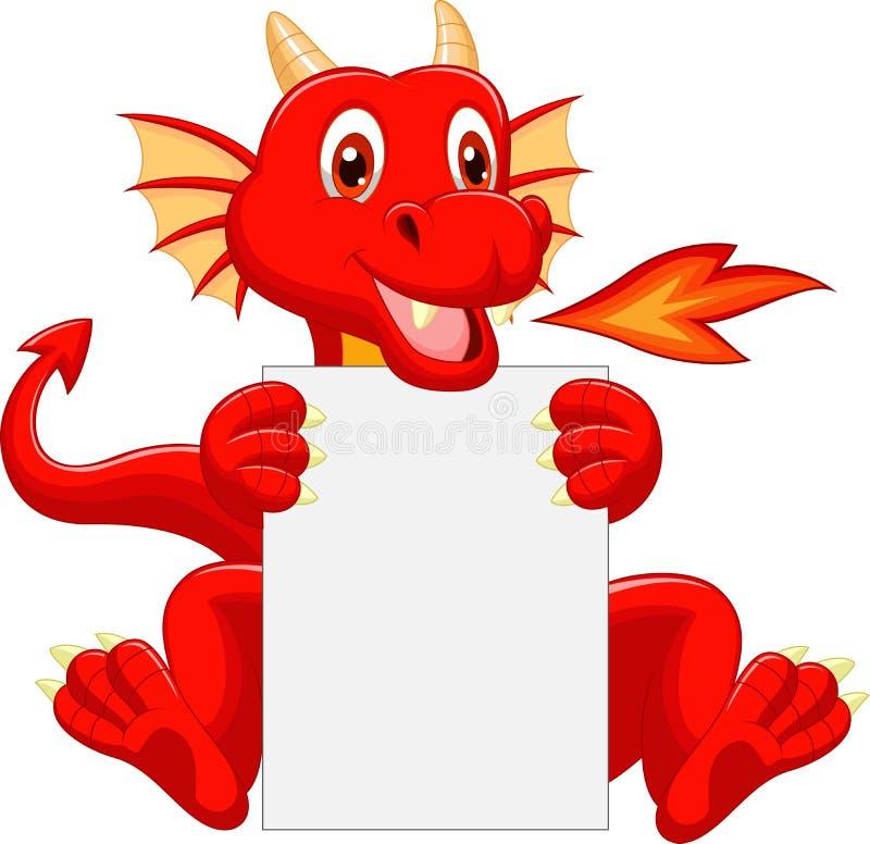 Desenhos animados bonitos do dragão que guardam o sinal vazio ilustração stock