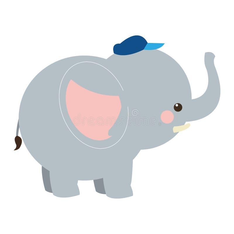 desenhos animados bonitos do elefante com ícone do chapéu ilustração stock