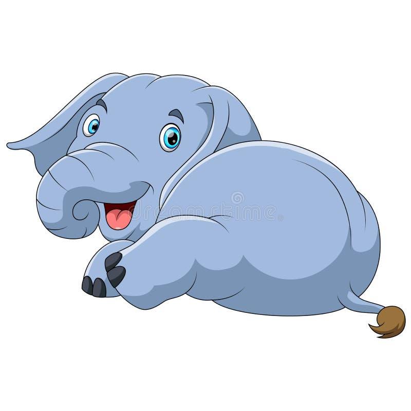Desenhos animados bonitos do elefante ilustração do vetor