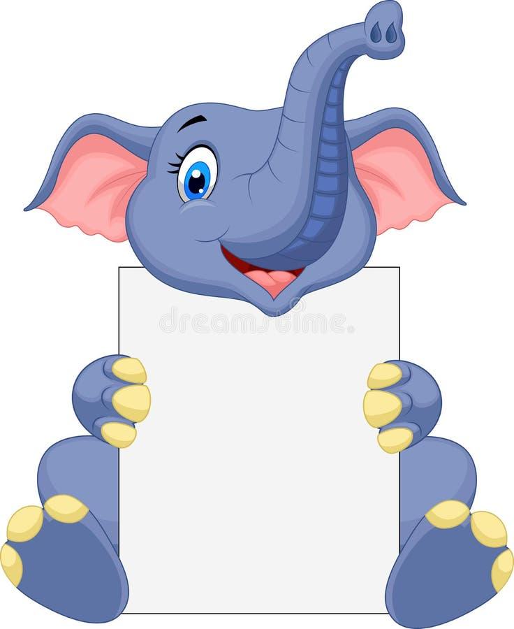 Desenhos animados bonitos do elefante que guardam o sinal vazio ilustração stock