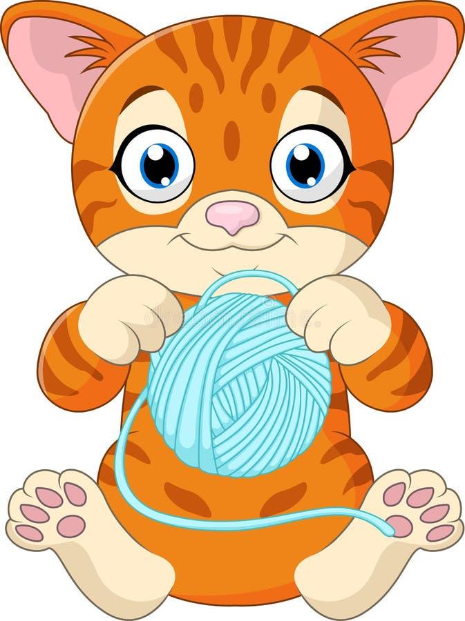 Desenhos animados bonitos do gato que jogam com a bola do fio ilustração stock