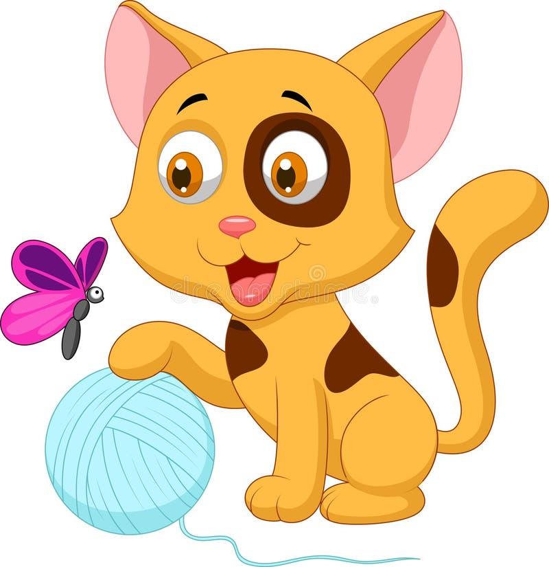 Desenhos animados bonitos do gato que jogam com a bola do fio e da borboleta ilustração stock