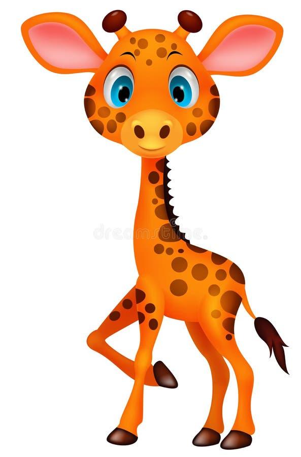 Desenhos animados bonitos do girafa do bebê ilustração stock
