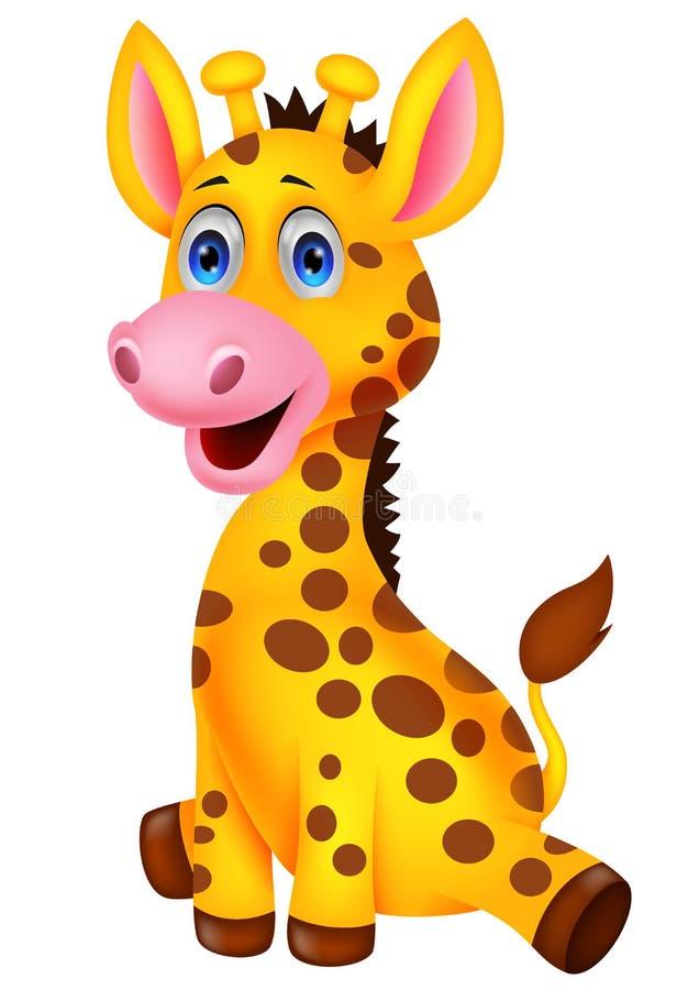 Desenhos animados bonitos do girafa do bebê ilustração royalty free
