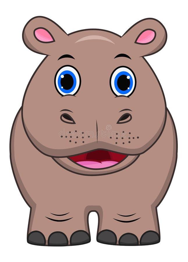 Desenhos animados bonitos do hipopótamo ilustração royalty free