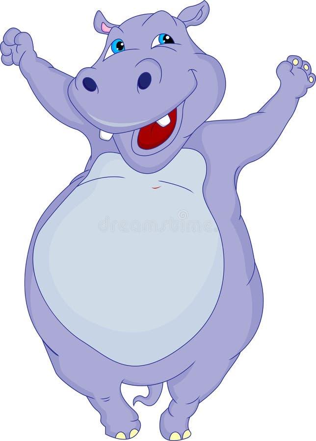 Desenhos animados bonitos do hipopótamo ilustração do vetor