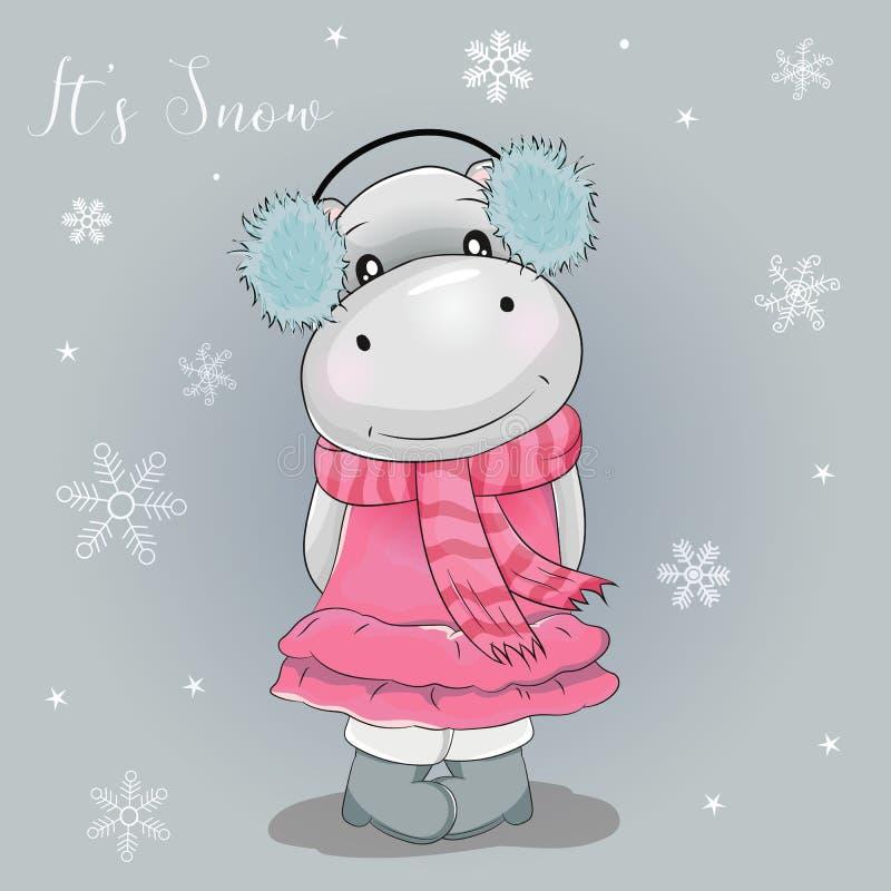 Desenhos animados bonitos do hipopótamo com neve do fundo ilustração stock