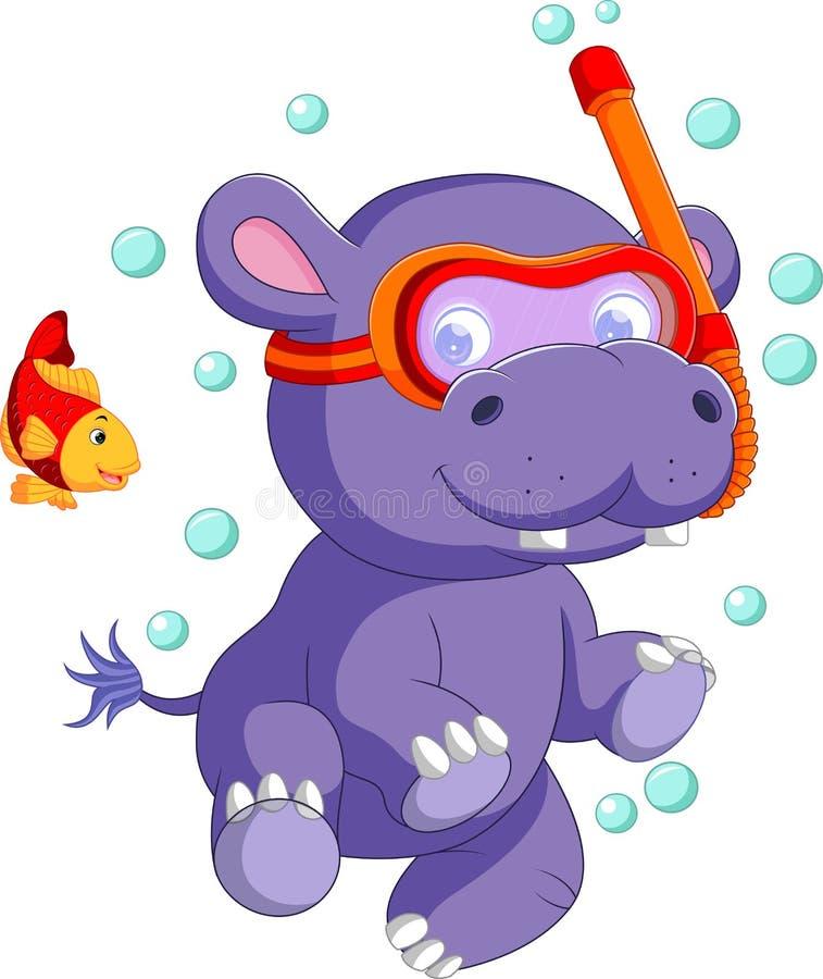 Desenhos animados bonitos do hipopótamo do bebê ilustração stock