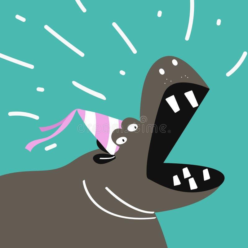Desenhos animados bonitos do hipopótamo que vestem um projeto do vetor do chapéu do partido ilustração do vetor